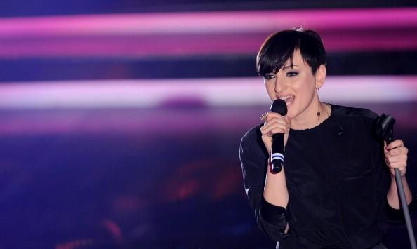 Italian singer Arisa performs on the sta